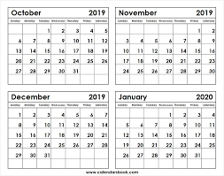 October November December 2019 January 2020 Calendar Template