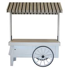 vendor cart white with awning