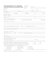 Incident Report Template Employee Work Injury Report Form