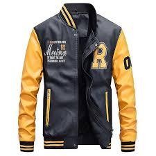 motorcycle leather jacket men college luxury fleece baseball er jackets faux leather coats mens winter pilot