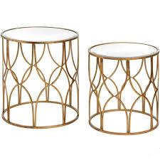 set of 2 gold side tables lattice