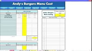 menu spreadsheet template food costing template recipe cost calculator free excel and form