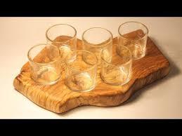 olive wood shot glass holder