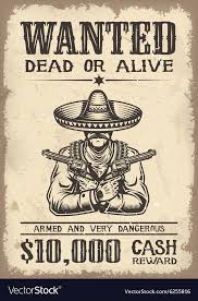 Vitage Wild West Wanted Poster