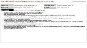 Army Resume Sample Army Resume Example Sample Military Resumes