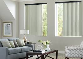 Fabric vertical blinds for the living room.