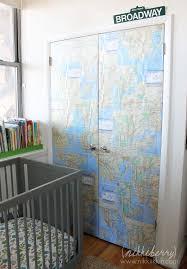 DIY Maps on Closet Doors