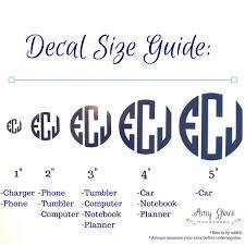 Monogram Size Chart Monogram Decal 3