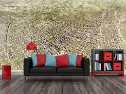 los angeles 1909 historic map mural in room