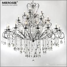 large 28 arms wrought iron chandelier crystal light fixture chrome re de sala crystal hanging lamp