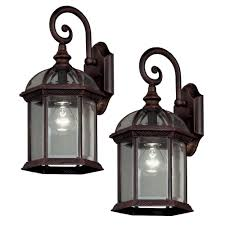 hampton bay twin pack 1light weathered bronze outdoor lantern outdoor light fixtures o41