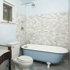 clawfoot tub shower bathroom rustic with baby blue blue