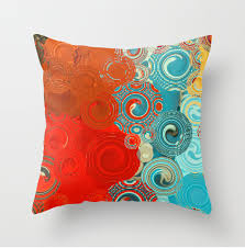Red And Turquoise Decorative Pillows