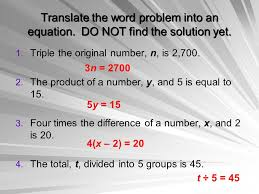 16 translate the word problem into an equation