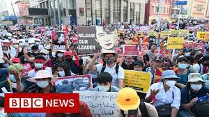 Roads blocked in Yangon as thousands protest Myanmar coup - BBC News -  YouTube