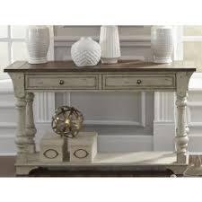 white sofa table. Morgan Creek Antique White Sofa Table