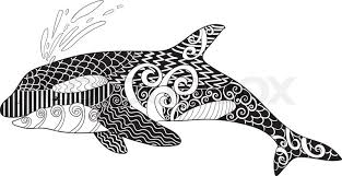 Small Picture Killer whale with high details Adult antistress coloring page