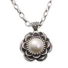 cultured mabe pearl pendant necklace 925 sterling silver novica indonesia