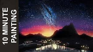 painting a night sky atop a city landscape with acrylics in 10 minutes you