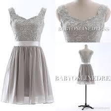 Under 50 Short Summer Bridesmaid Dress Silver Chiffon V Neck Cap
