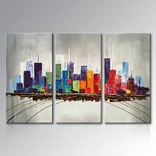 everfun modern 3 piece hand painted abstract oil painting color city canvas wall art building on wall art for office building with everfun modern 3 piece hand painted abstract oil painting color city