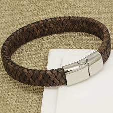 boys mens vintage brown chunky italian leather bracelet steel magnetic clasp