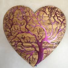 >3d wall art metal art of wisconsin hand oiled pine mounted heart tree of life 2 footer metal art
