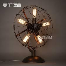 vintage rh loft edison electric fan metal table lamp american loft rh black with rust ajule include 5 edison bulb in desk lamps from lights