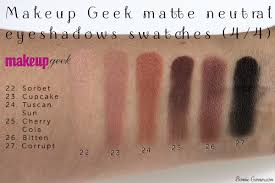 makeup geek neutral matte eyeshadows sorbet cupcake tuscan sun cherry cola