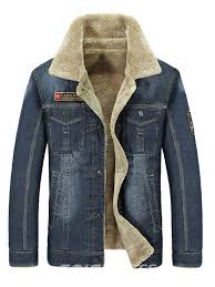 ericdress plain lapel thick mens casual winter denim jacket 13570597