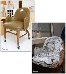 reupholstering an office chair. before u0026 after painted rolling desk chair reupholstering an office