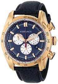 amazon com versace men s vdb030014 v ray rose gold tone watch versace men s vdb030014 v ray rose gold tone watch blue leather strap