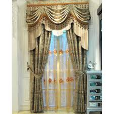 vintage lace curtains in combined green color for fancy living room or bedroom fancy curtains for