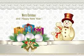 Christmas Presents In Colorful Boxes And Snowmen