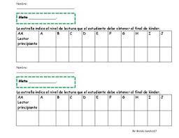 Star Reading Level Chart Spanish Reading Level Tracker