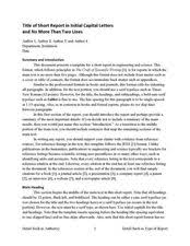 Science Report Format Sample Report Format And Templates Writing As An Engineer