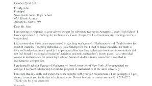 Cover Letter Examples For Substitute Teachers Teacher Cover Letter