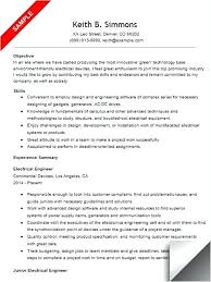 Electrical Engineering Resume Sample For Freshers Spacesheep Co