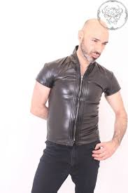 tight leather look shirt