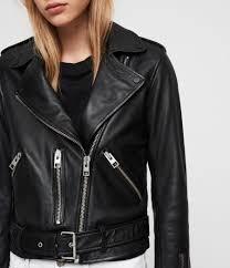 womens balfern leather biker jacket black image 2
