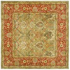 persian legend light green rust 8 ft x 8 ft square area rug