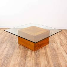 Home decorating tips & ideas. Mid Century Modern Wood Block W Glass Top Coffee Table Loveseat Online Auctions San Diego