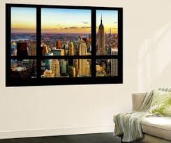 wall mural window view cityscape of manhattan at sunset new york by philippe on 72 names of god wall art with wall murals posters for sale at allposters