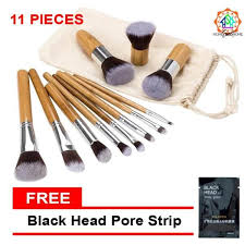 high quality make up brush set 11 pieces bamboo makeup brush set with pouch philippines