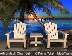 Adirondack chairs on beach Beach Scene Adirondack Chair Table Set Beach Chairs Sculpted Low Prim Second Life Marketplace Second Life Marketplace Adirondack Chair Table Set Beach Chairs