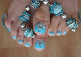 Nails Design Teal Black And White Pedicure Most Beautiful Art ...