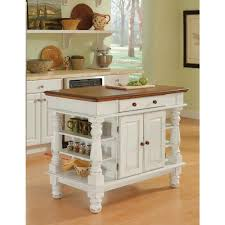 Home Styles Americana Kitchen Island In Distressed White With Oak Top