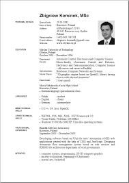 English Resume Samples 6 Cv In English Word Theorynpractice