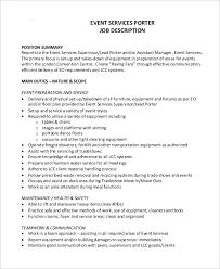 Free 10 Sample Porter Job Description Samples In Pdf Word