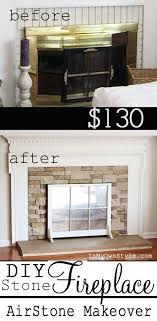 airstone diy fireplace makeover